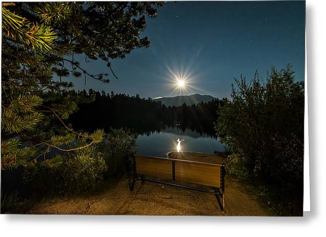 Moon Over Sawmill Lake Greeting Card by Michael J Bauer