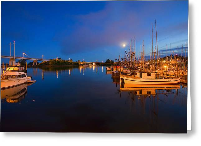 Landscape. Scenic Greeting Cards - Moon over Sitka Marina Greeting Card by Mike  Dawson