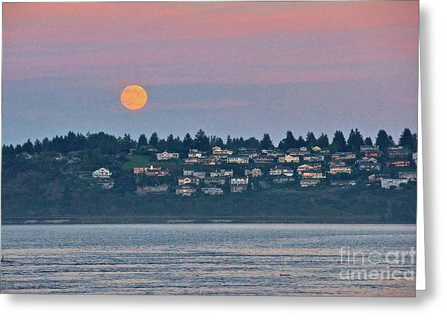 Moon Over Steilacoom Greeting Card by Sean Griffin