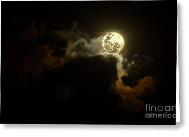 Moon Over Sunset Clouds By Kaye Menner Greeting Card by Kaye Menner