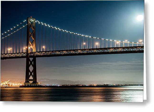 Recently Sold -  - Bay Bridge Greeting Cards - Moon Over the Bay Greeting Card by Brooks Creative -Photography and Artwork By Anthony Brooks