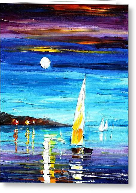 Popular Art Greeting Cards - Moon Over The Bay - PALETTE KNIFE Oil Painting On Canvas By Leonid Afremov Greeting Card by Leonid Afremov