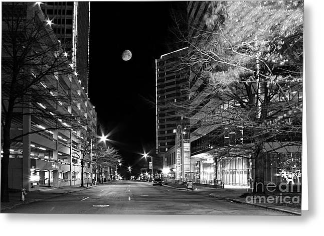Empty Street Greeting Cards - Moon Over The Bottom Greeting Card by Tim Wilson