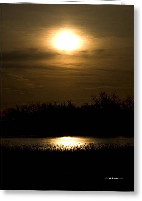 Sillouette Greeting Cards - Moon Over the Pond Greeting Card by Tom Buchanan