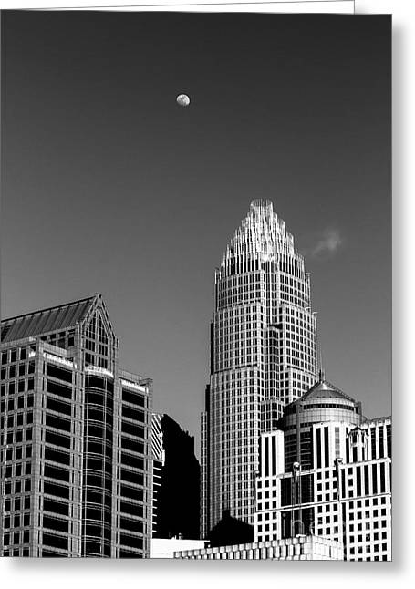 Charlotte Homes Greeting Cards - Moon over the Queen City Greeting Card by Robert Yaeger