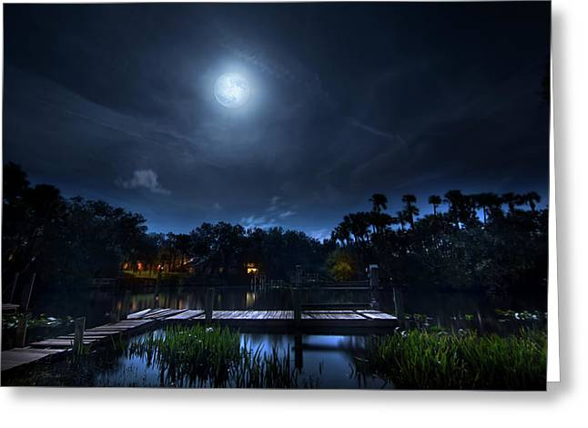 Moon Over The River Greeting Card by Mark Andrew Thomas