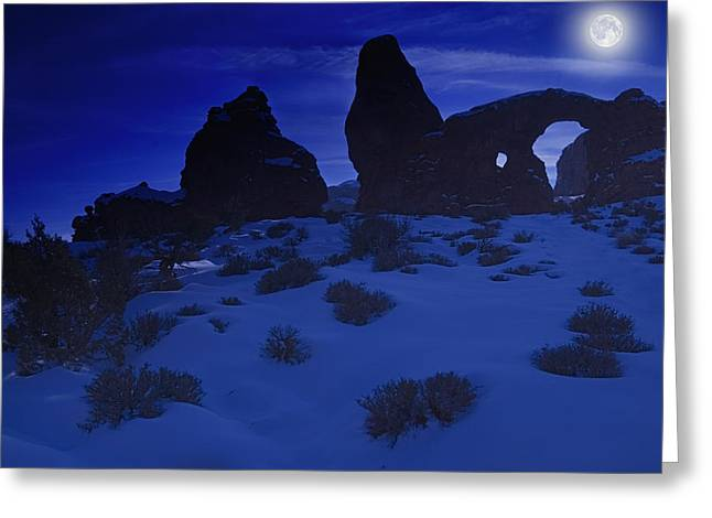 Moon Over Turret Arch Greeting Card by Utah Images