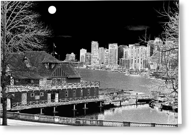 Intrigue Greeting Cards - Moon Over Vancouver Greeting Card by Will Borden
