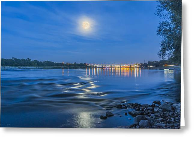 Exposure Greeting Cards - Moon over Vistula River in Warsaw Greeting Card by Julis Simo
