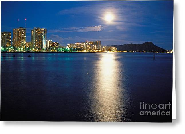 Moon Over Waikiki Greeting Card by Mary Van de Ven - Printscapes