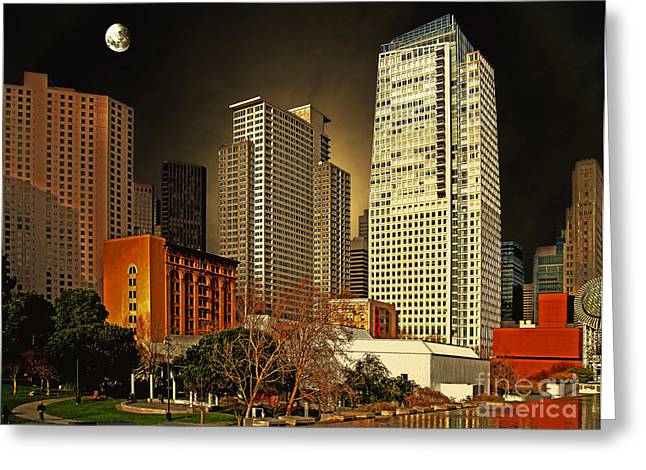 Mario Botta Botta Greeting Cards - Moon Over Yerba Buena Gardens San Francisco Greeting Card by Wingsdomain Art and Photography