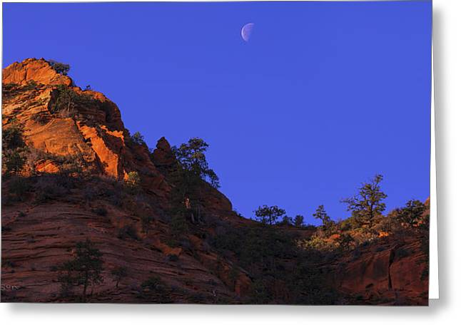 Zion National Park Greeting Cards - Moon Over Zion Greeting Card by Chad Dutson
