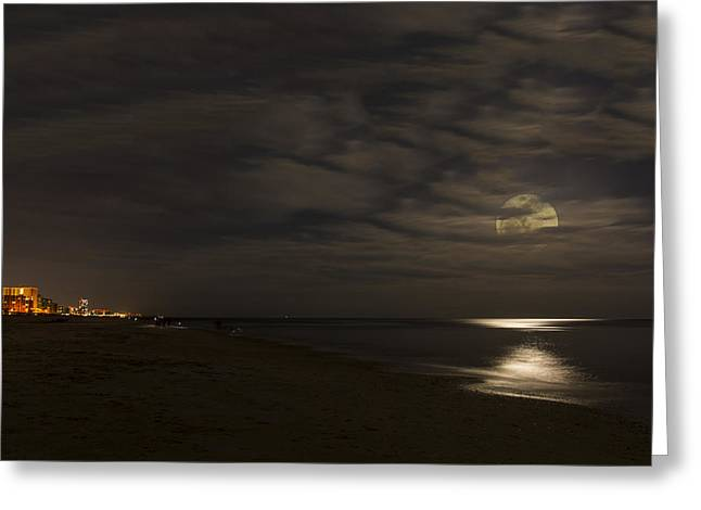 Sea Moon Full Moon Greeting Cards - Moon Peaking Through Clouds Greeting Card by Gej Jones