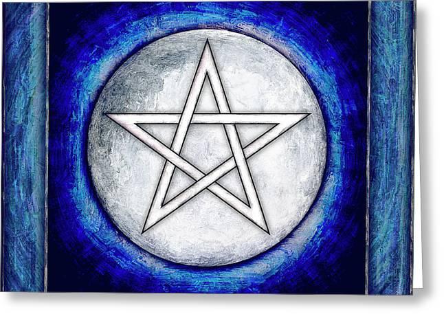 Moon Pentagram Greeting Card by Dirk Czarnota