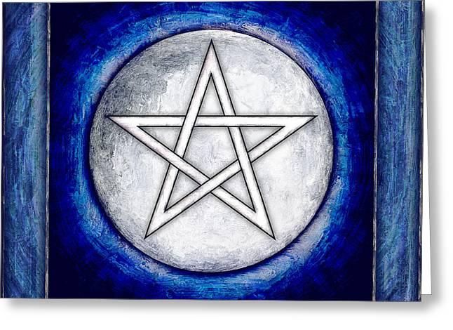 Sacred Digital Greeting Cards - Moon Pentagram Greeting Card by Dirk Czarnota