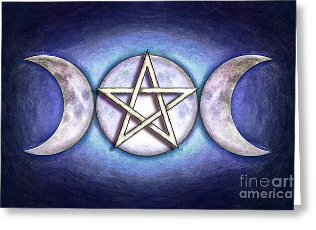 White Magic Greeting Cards - Moon Pentagram - Triple Moon Greeting Card by Dirk Czarnota