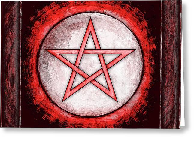 Sacred Digital Greeting Cards - Moon Pentagram Red Greeting Card by Dirk Czarnota