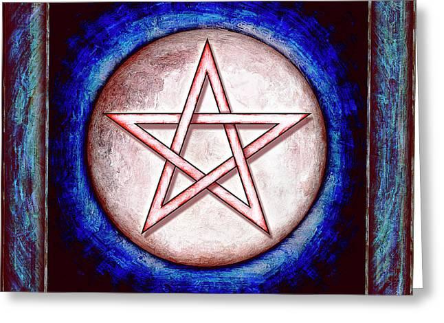 Sacred Digital Greeting Cards - Moon Pentagram - Red Shining Greeting Card by Dirk Czarnota