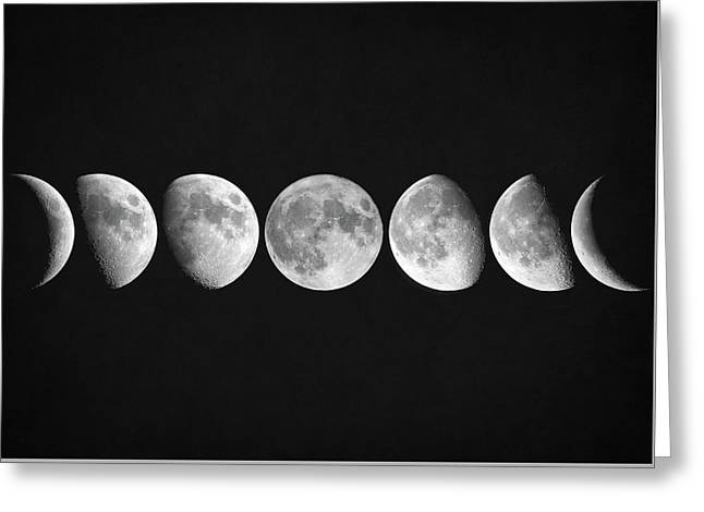 Moon Phases Greeting Card by Taylan Soyturk