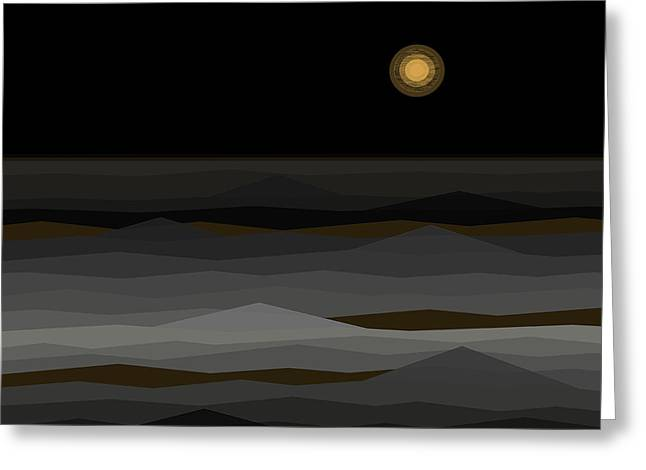Moon Rise Abstract II Greeting Card by Val Arie