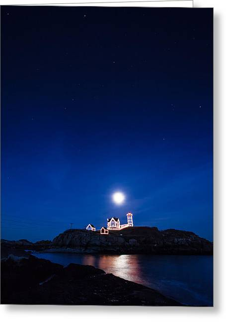 Cape Neddick Lighthouse Greeting Cards - Moon rise Nubble Lighthouse Greeting Card by Jeff Folger