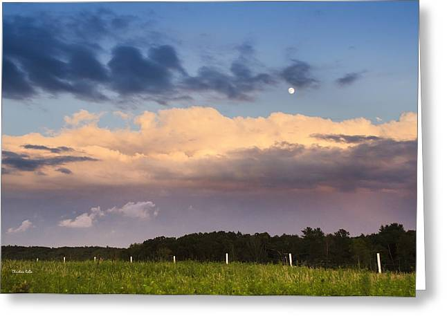 Moon Rise Over Country Fields Sunset Landscape Greeting Card by Christina Rollo