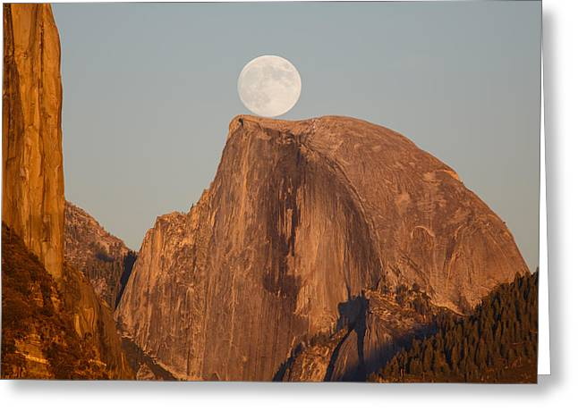 Ephemeris Greeting Cards - Moon Rise Over Half Dome Greeting Card by Jeff Sullivan
