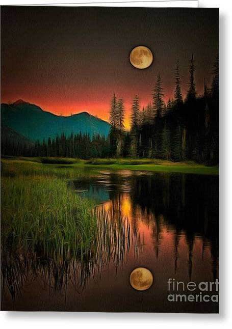 Moon Set Digital Art Greeting Cards - Moon Rises or Sets In Ambiance Greeting Card by Catherine Lott