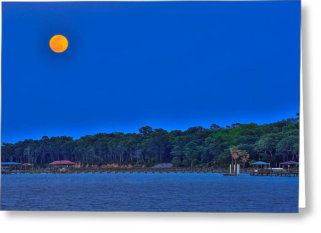 Sea Moon Full Moon Greeting Cards - Moon Rises over James Island - Charleston SC Greeting Card by Donnie Whitaker