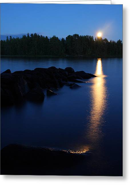 Sea Moon Full Moon Greeting Cards - Moon rising in Finland Greeting Card by Sandra Rugina