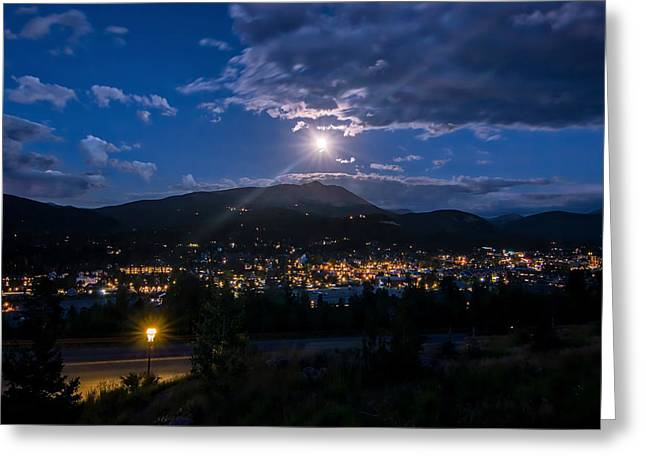 Moon Rising Over Breckenridge Greeting Card by Michael J Bauer