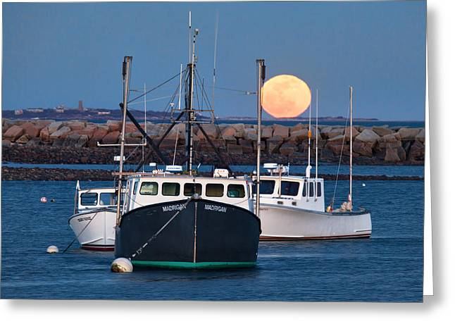 Sea Moon Full Moon Greeting Cards - Moon Rising Over Rye Harbor Greeting Card by Eric Gendron