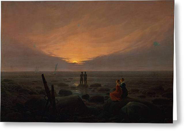 Moon Rising Over The Sea Greeting Card by Caspar David Friedrich