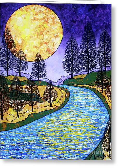 Reflections In River Greeting Cards - Moon River Greeting Card by Tracy Levesque