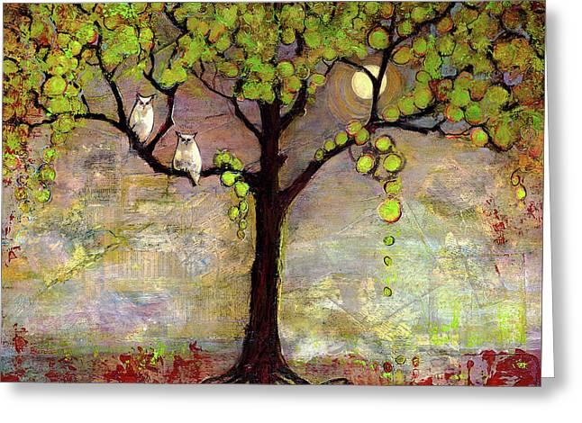 Moon River Tree Owls Art Greeting Card by Blenda Studio
