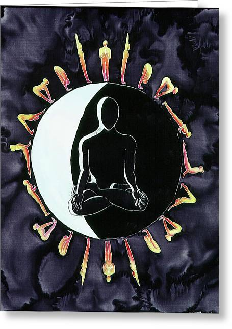 People Tapestries - Textiles Greeting Cards - Moon Salutations Greeting Card by Carolyn Doe