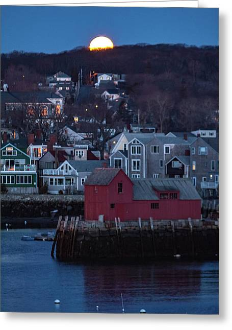 Moon Sets Over Rockport Greeting Card by Jeff Folger