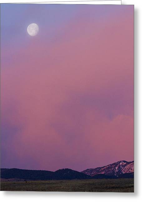 Sunset Prints Greeting Cards - Moon Setting First Light Sunrise Boulder County Colorado Greeting Card by James BO  Insogna