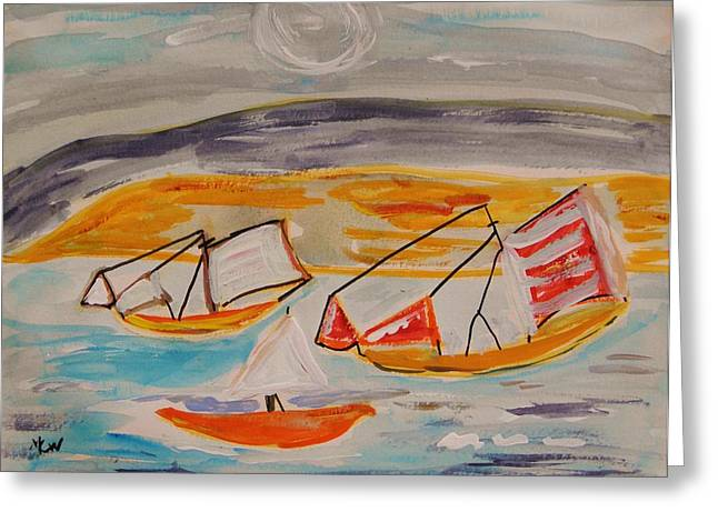 Sea Moon Full Moon Greeting Cards - Moon Shadow on Sailing Boats Greeting Card by Mary Carol Williams
