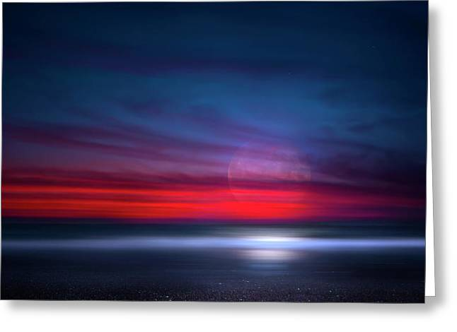 Moon Tide Greeting Card by Mark Andrew Thomas