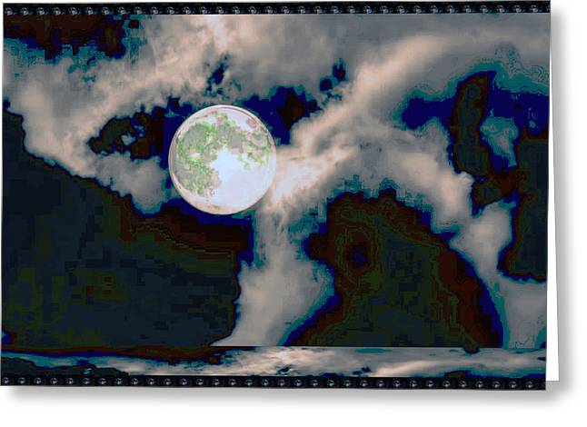 Moonshine Mixed Media Greeting Cards - MOON Walk by the Clouds Greeting Card by Navin Joshi