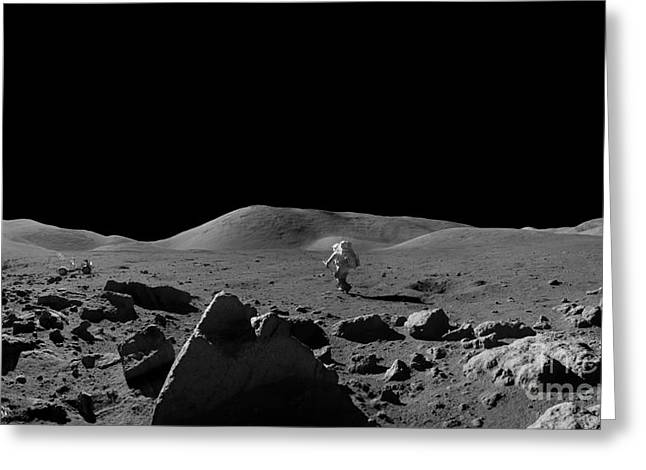 Moon Walk Greeting Card by Jon Neidert