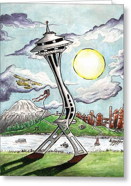 Jogging Greeting Cards - Moon Walking Spaceneedle Greeting Card by Silverio Godinez
