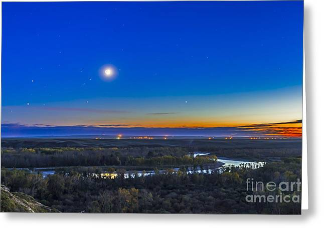 Moon With Antares, Mars And Saturn Greeting Card by Alan Dyer