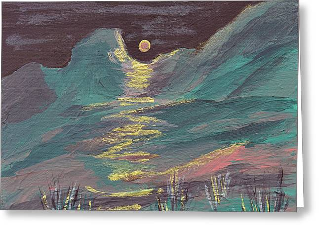 Moonglow On The High Desert Greeting Card by Donna Blackhall