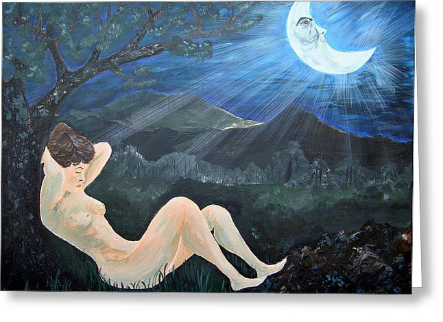 Man On The Moon Greeting Cards - Moonlight And Sorrow Greeting Card by Donna Blackhall