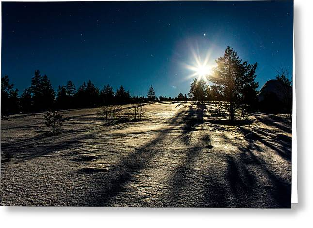 Moonlight At Lyngsheia Greeting Card by Arve Sirevaag