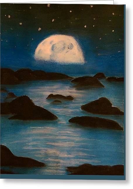 Night Time Pastels Greeting Cards - Moonlight Greeting Card by Brianna Bishop