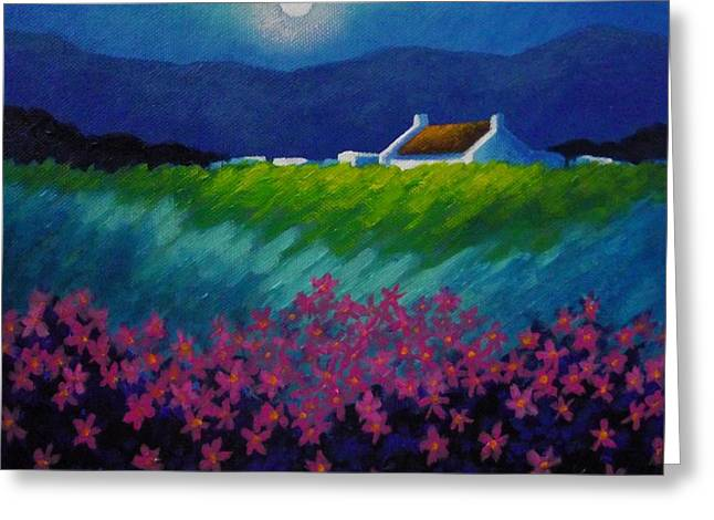 Cottage Print Greeting Cards - Moonlight County Wicklow Greeting Card by John  Nolan