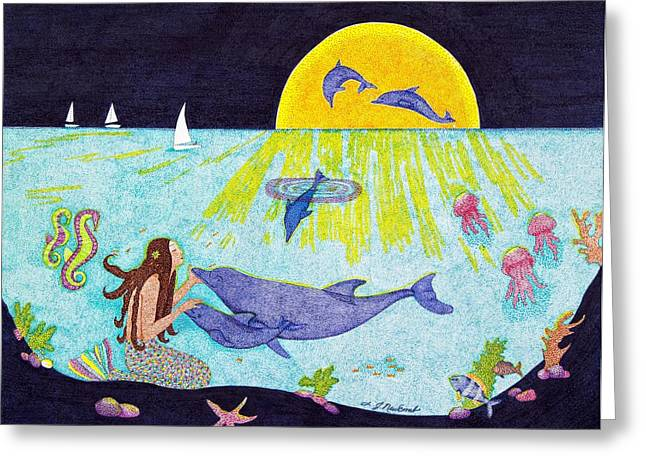 Yellow Sailboats Drawings Greeting Cards - Moonlight Crossing 3 Greeting Card by Judy Cheryl Newcomb